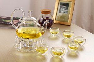 Bộ ấm trà thủy tinh bếp nến, giá rẻ
