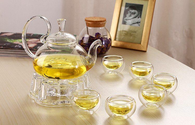 Bộ ấm trà thủy tinh bếp nến