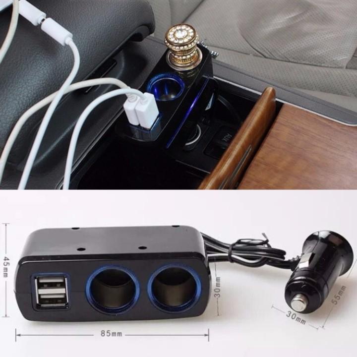 Bộ chia sạc 3 tẩu thuốc ô tô và 2 cổng USB có thiết kế thông minh, hiện đại