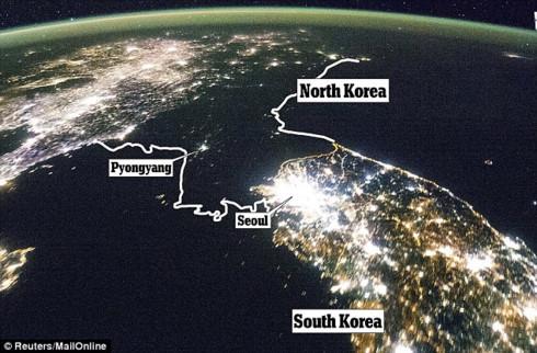 Triều Tiên và Hàn Quốc trong đêm - Ảnh vệ tinh