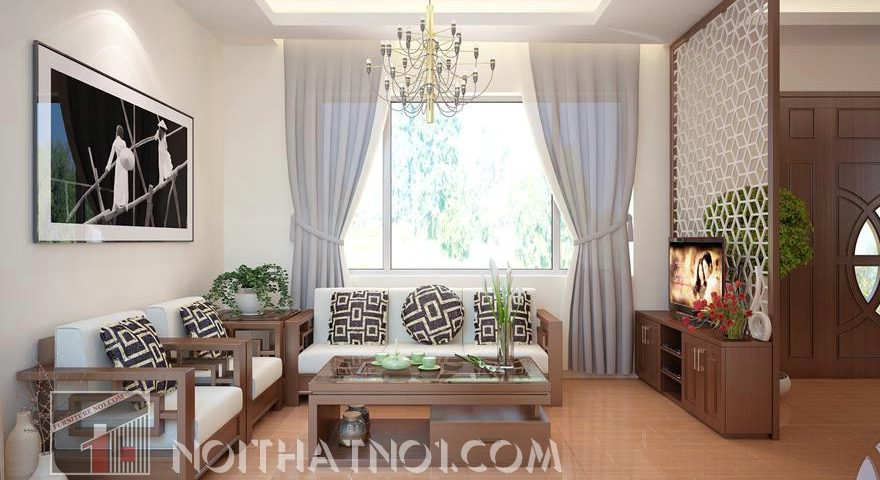 sofa gỗ góc phòng khách
