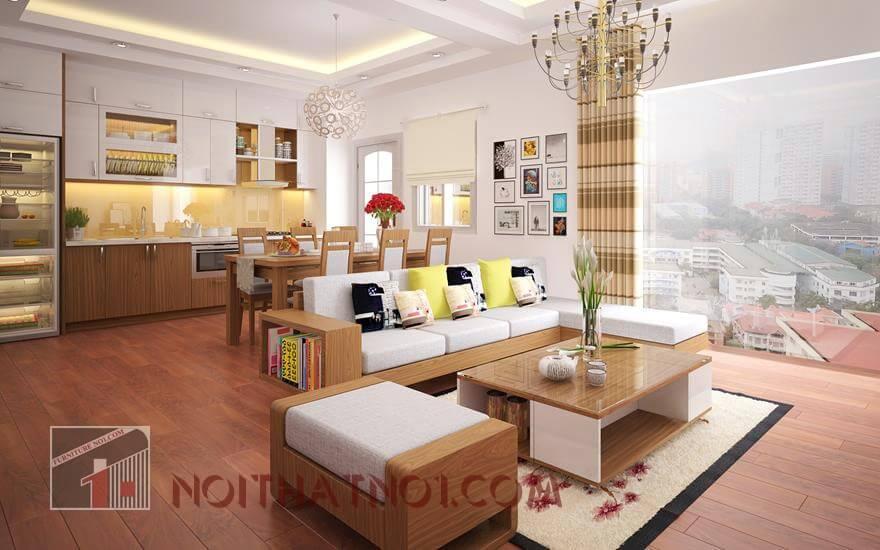 Bàn ghế gỗ chữ L cho nhà chung cư
